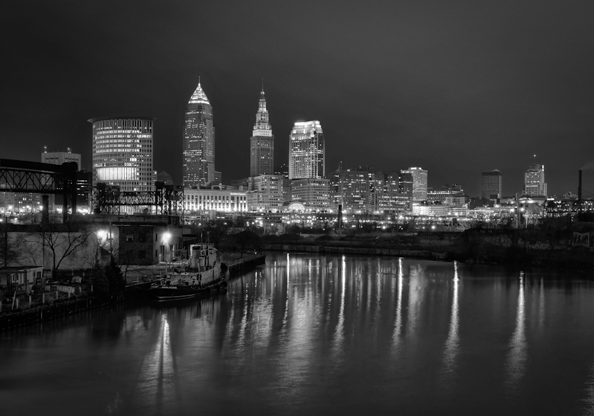 Black and white cleveland skyline