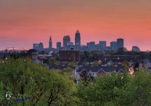 Cleveland skyline sunset