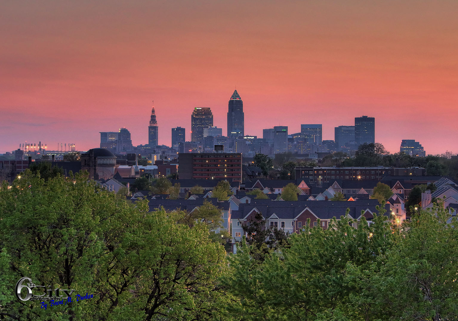 Cleveland skyline sunset